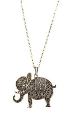 Deb Shops Long Necklace with Elephant Pendant