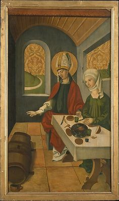 Saint Remigius Replenishing the Barrel of Wine; (interior) Saint Remigius and the Burning Wheat by Swiss Painter, European Paintings Medium: Oil, gold, and white metal on wood Purchase, Medieval Life, Medieval Art, Famous Artwork, European Paintings, In Vino Veritas, Renaissance Art, Old Master, Middle Ages, History
