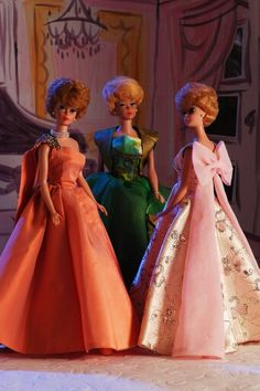 Halina gowns modeled by bubblecut Barbies from the collection of Barry Sturgill.