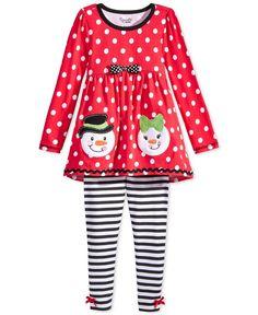 Nannette Little Girls' 2-Piece Snowman Tunic & Striped Leggings Set