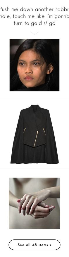 """""""Push me down another rabbit hole, touch me like I'm gonna turn to gold // gd"""" by bat-caitlin ❤ liked on Polyvore featuring outerwear, cape coat, gareth pugh, vests, vest waistcoat, green vest, green waistcoat, shearling vest, tops and crop tops"""