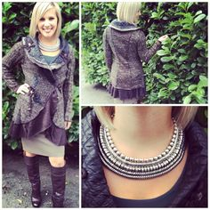 Fall Fashion @ Cadeaux #jacket #skirt #necklace #cleopatranecklace