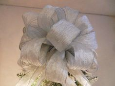Large soft silver crinkle ribbon Christmas Tree topper bow by creativelycarole on Etsy