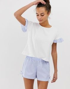 Buy Hey Peachy stripe short pyjama set with ruffle detail in blue at ASOS. Get the latest trends with ASOS now. Cute Sleepwear, Sleepwear Women, Striped Pyjamas, Striped Shorts, Satin Pyjama Set, Pajama Set, Pajamas For Teens, Pijamas Women, Cozy Pajamas