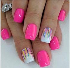 Hot Pink Nails, Fancy Nails, Love Nails, Hot Pink Pedicure, Hot Pink Toes, Colorful Nail Designs, Acrylic Nail Designs, Nail Art Designs, Nail Designs Hot Pink