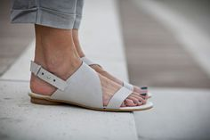 10% Sale, Francis, White Leather Sandals, Wedding Shoes, Flat Summer Shoes, White Sandals, Asymmetric Shoes