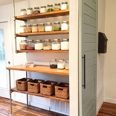 """More shelving ideas! I left this piping unfinished and used thicker lumber and stained it """"provincial"""" brown @hgtv #fixerupper"""