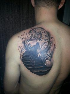 Watch tattoo,time tattoo,back tattoo,tatuaje brasov,design,ideas,black and grey