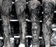 Lion Growling In The Jungle Mens Fll Leg Sleeve Tattos