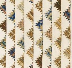 Antiquelue and buff delectable mountain quilt, ca. 1840-50.