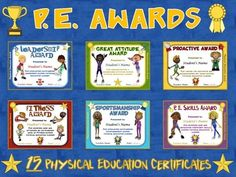 PE AWARDS- 15 Physical Education Certificates