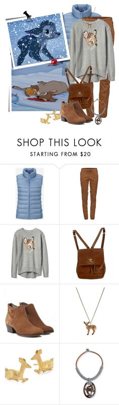 """""""Saddest Disney Momment:  Death of Bambi's Mother"""" by funnfiber ❤ liked on Polyvore featuring Disney, Uniqlo, Black Diamond, Chanel, H by Hudson, Temple St. Clair and NOVICA"""
