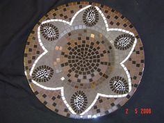 Mosaic platter in black and white by Lisa b