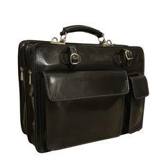 Chiarugi Top Zip Italian Medium Leather Briefcase - Black. Attavanti .com 674586a38b59a