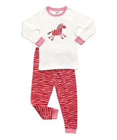 Look at this #zulilyfind! White & Pink Zebra Pajama Set - Toddler & Girls #zulilyfinds