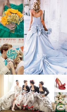 A fun and whimsical Wizard of Oz Wedding Inspiration Board on Marry Me Metro, a city wedding ideas blog http://marrymemetro.com/2013/03/11/inspiration-board-wizard-of-oz-wedding/ #yellow #blue #red #emerald #wedding #ideas #inspiration #theme #movie #offbeat #geek