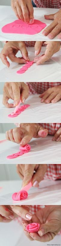 Fondant rose how to.or fimo clay :) Fondant Figures, Cake Decorating Tips, Cookie Decorating, Tutorial Rosa, Diy Tutorial, Decoration Patisserie, Fondant Tutorial, Fondant Tips, Fondant Icing