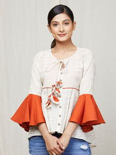 b50e3e6ad4d0f Off White Orange Cotton Top Kurti With Jeans