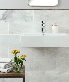Bathroom - Serac™ Honed Tile 15x45 Bathroom tiles Topp Tiles, marble effect - love the rose gold edging