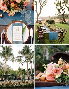 This Four Seasons Resort Lanai Wedding Is Your Ticket To Paradise: Palm trees, gorgeous views, and fruity centerpieces in this Hawaiian wedding bring the feeling of paradise!