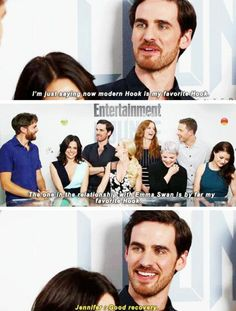 "Colin and Jen at SDCC ^^ Colin ""I'm just saying now modern Hook is my favorite Hook. The one in the relationship with Emma Swan is by far my favorite Hook !"", Jen ""Good recovery !"""
