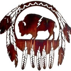 Shop Southwest metal wall art & wall decor that will bring a distinct Southwestern flair to your home, lodge, cabin, or ranch. Huge variety of rustic Southwest wall decorations. Native American Design, Native American Pottery, Native American Indians, Tambour, Bison Tattoo, Buffalo Tattoo, Buffalo Animal, Buffalo Art, Indigenous Art