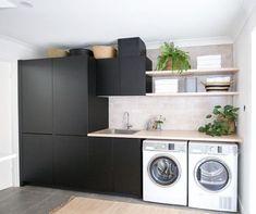Basement Laundry, Basement Storage, Laundry Room Organization, Laundry Room Design, Closet Storage, Kitchen Design, Diy Storage, Storage Shelves, Storage Ideas