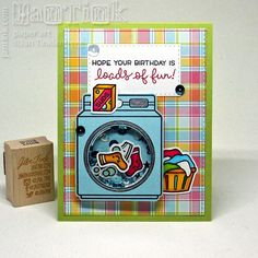 Lawn Fawn - Loads of Fun, Perfectly Plaid paper _ colorful birthday card by jantink2001 via Flickr