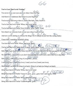 You've Lost That Loving Feeling - G Major - Guitar Chord Chart with Lyrics - http://www.youtube.com/munsonmusiclive