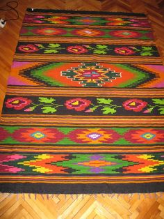 Antique flat woven Romanian carpet kilim antique by RealRomania Hotel Carpet, Moldova, Vintage Textiles, Hama Beads, Carpets, Bohemian Rug, Weaving, Traditional, Flat