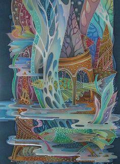 Painting on silk (batik) by Russian artist Lyubov Toscheva Fabric Painting, Painting & Drawing, Batik Art, Up Book, Silk Art, Whimsical Art, Beautiful Artwork, Textile Art, Art Lessons