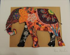 Quilled Elephant. This is a festive colored elephant in a 11x 14 inch black frame with a lighter background that shows off the bright colors of the artwork. This piece would look great in any home. A real conversation piece. This item can be placed in a shadow box frame for an