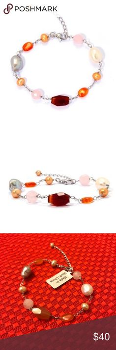 """NWT! Carnelian Bracelet 11cts NWT! Carnelian Bracelet in Sterling Silver 3 Carnelian gems - 7cts 2 Rose Quartz gems - 4cts 6 Freshwater Cultured Pearls  7.5""""-9""""L  Check out the other listings in my closet and bundle to save! Offers welcome🌸 Jewelry Bracelets"""