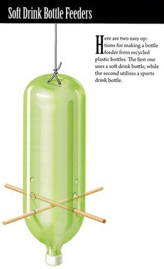 How to make a recycled soda bottle bird feeder from the book Build Your Own Backyard Birdhouses and Feeders #recycledcrafts