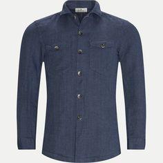 06572 LINEN OVERSHIRT Shirts BLÅ from Hansen & Jacob 256 EUR