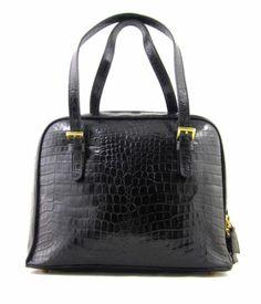 Vintage Talbots Black Leather Structured Croc Embossed Purse Bag Handbag Shiny | eBay