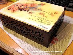 Ażurowa szkatułka - ptaszki na gałązce wiśni