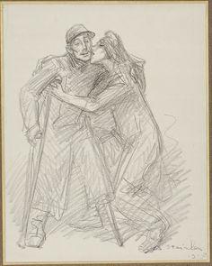 Steinlen, Théophile-Alexandre. [La France embrasse un mutilé]. 1915. Dessin. Coll. BDIC