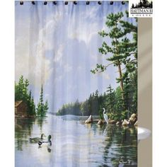Hautman-Brothers-Lakeside-Nature-Inspired-Fabric-Shower-Curtain-72-034-x-72-034-Duck