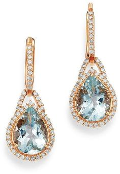 Bloomingdale's Aquamarine & Diamond Teardrop Drop Earrings in 14K Rose Gold - 100% Exclusive