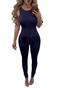 d9e367234fcd Pure Color Scoop Lace-up Long Jumpsuit
