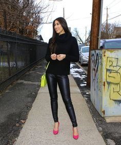 Pops of Neon - The Style Contour how to wear neon, neon pink heels, leather leggings, coat jeans, knit black sweater, all black outfit, neon purse, neon green, neon pink, winter outfit, how to wear color, outfit for every body shape, petite outfit idea, new york fashion blogger
