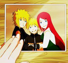 One happy family comprised of Minato, Naruto, and Kushina. <3