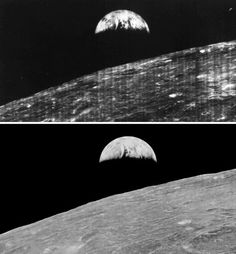 On August's 23, 1966 the Lunar orbiter spacecraft 1 captured the first image of earth's rise ever taken from lunar orbit. The photo shows the original image as well the restored version.