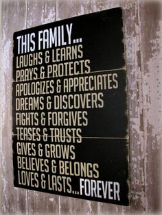 Typography Sign Wall Decor- This Family Loves.... Farmhouse Antiqued Plank Sign-Cottage Style- Black