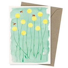 Earth Greetings Card - Bees and Billy Buttons Garden Gifts, Paper Goods, Eco Friendly, Applique, Recycling, Owl, Greeting Cards, Earth, Messages