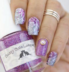 Purple floral nailart #nailcharm #Glitter #nailstamping