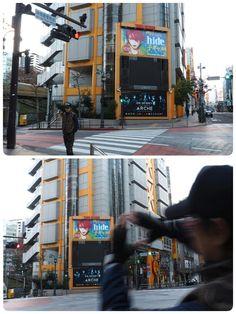 渋谷・タワーレコードの、交差点ビジョン上に、 hideボードが登場   photo by CANNO  http://cogal.hide-city.com/pc/  http://fb.me/3ayAgbWRY