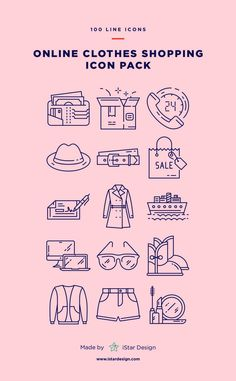 Online Clothes Shopping Icons Set made by iStar Design. Series of 100 pixel-perfect icons, created by influence of online shopping and e-commerce. Flat Design, Web Design, Graphic Design, Design Layouts, Shop Icon, Icon Set, Online Shopping Clothes, Online Clothes, Shopping Mall