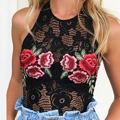 Black Lace Bodysuit Featuring Floral Embroidery